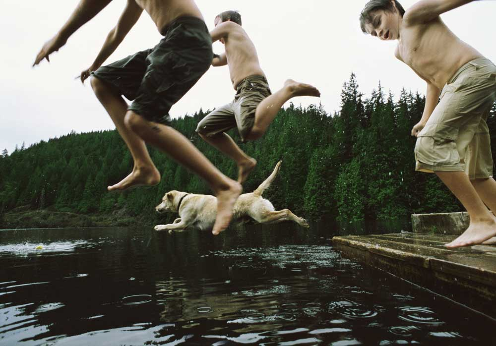 Kids and Dog jumping into Lake from a Dock
