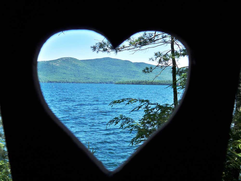 View though Heart Cutout of the Lake