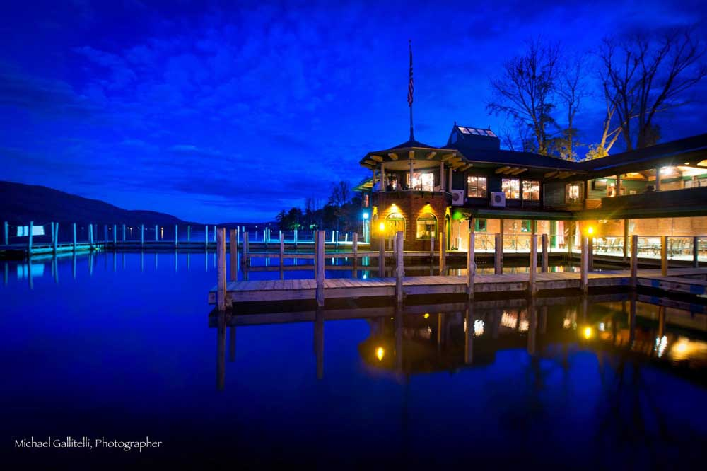 boathouse restaurant at night lit up