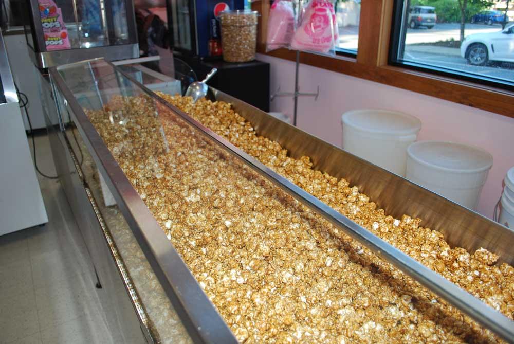 large troth of caramel popcorn