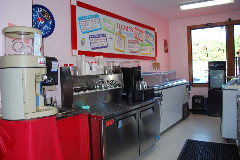 behind the counter at bobs homemade ice cream