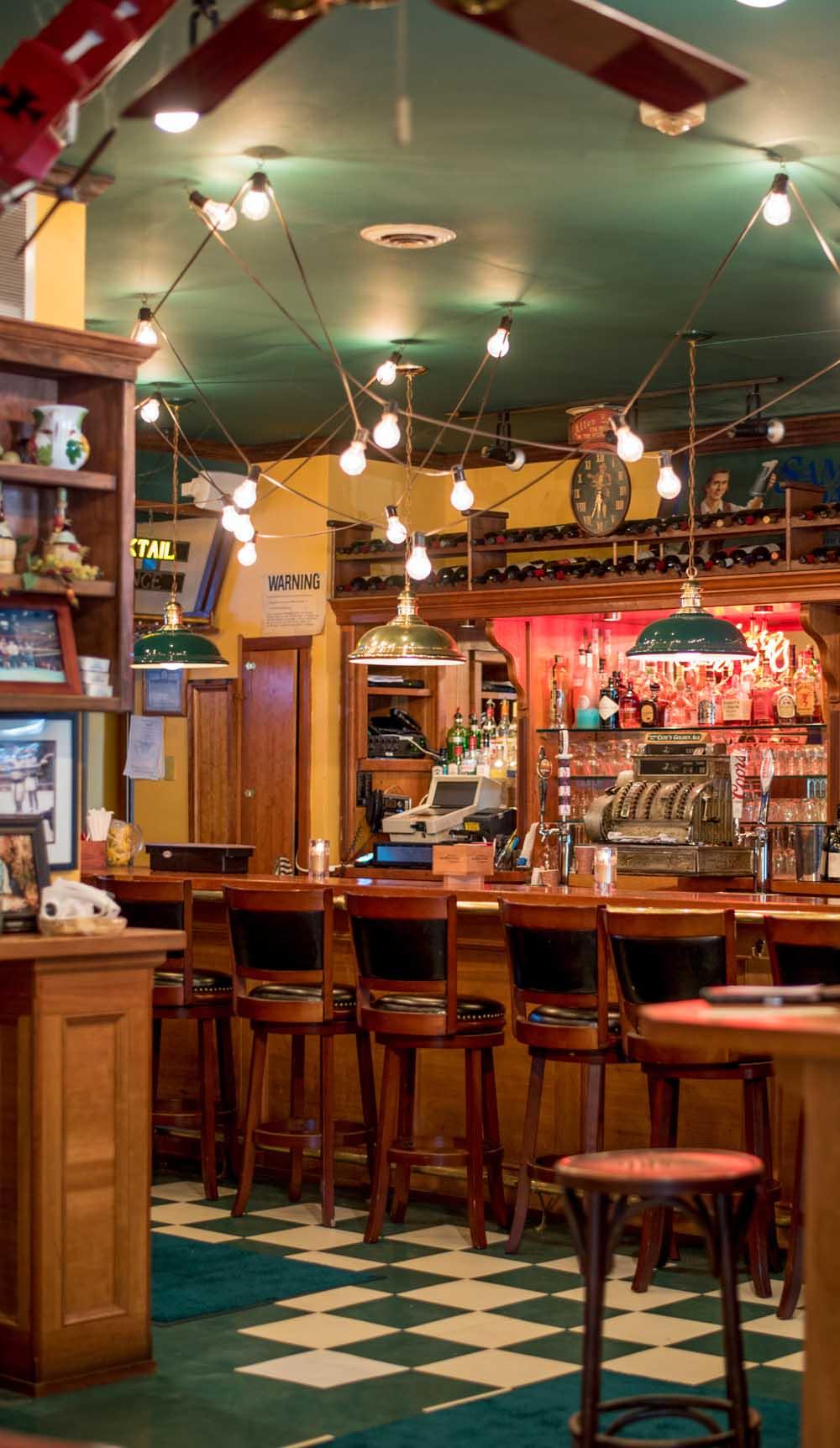 bar at cate's Italian restaurant