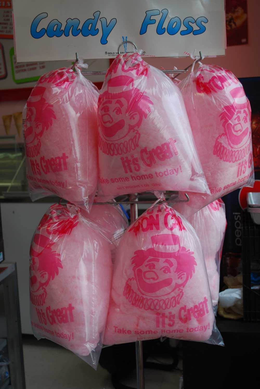 cotton candy hanging in bags