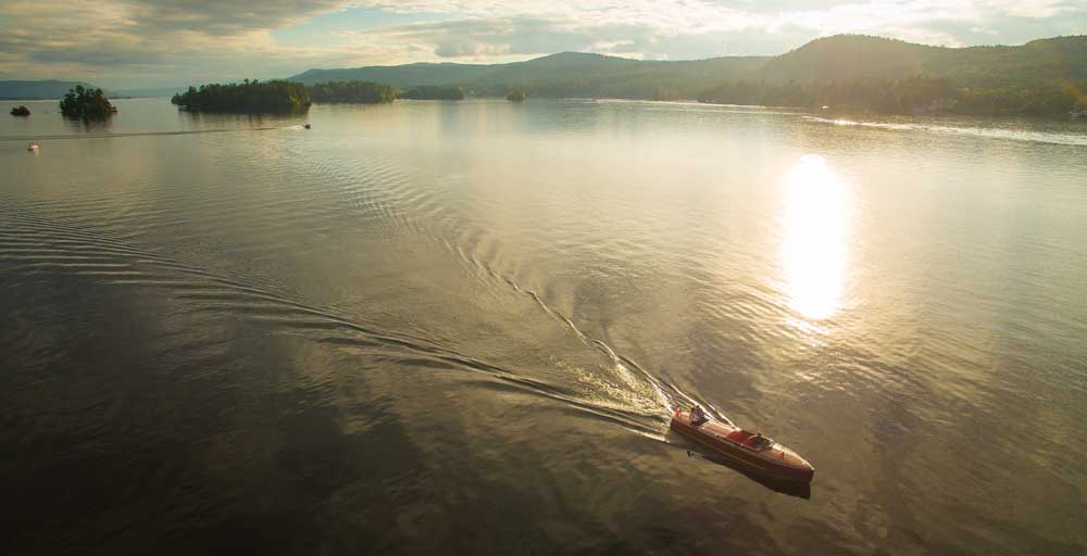 aerial view of boat on lake george