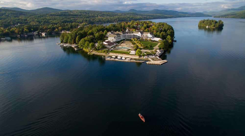 aerial shot of sagamore resort