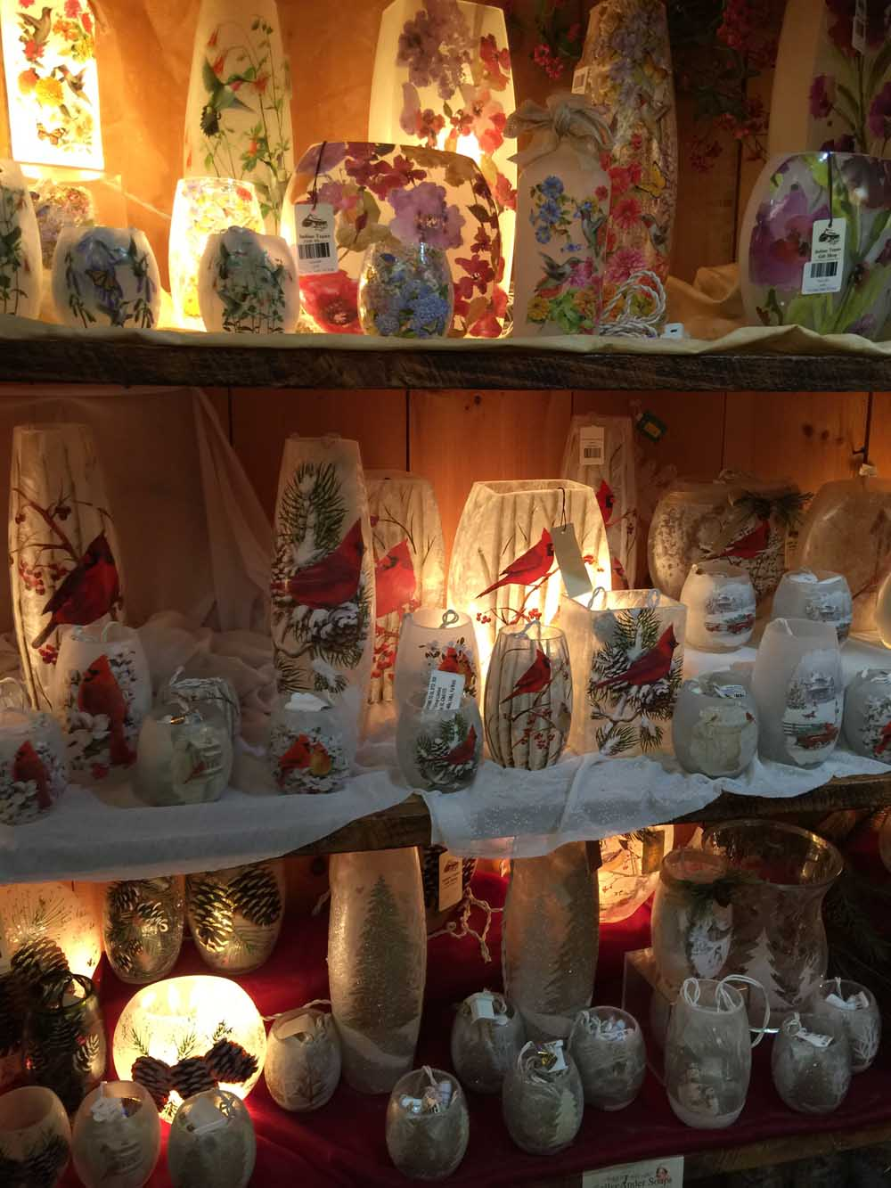 various glass candle and light bulb holders