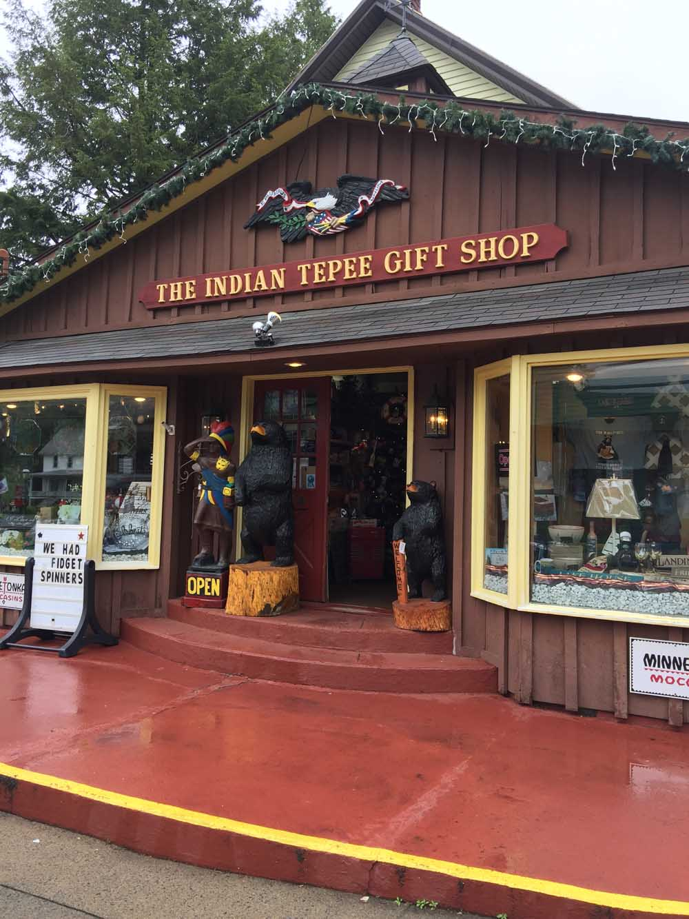 exterior of the indian tepee gift shop