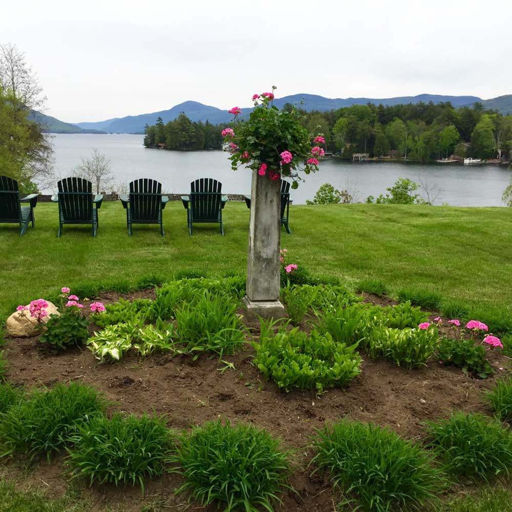 Landscaping and Adirondack Chairs overlooking Lake George