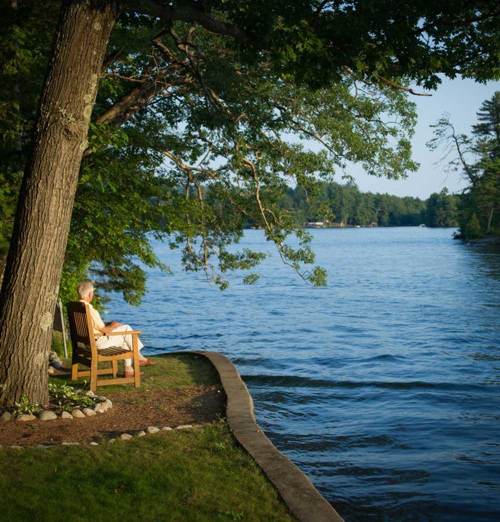 man sitting on bench under tree looking at lake