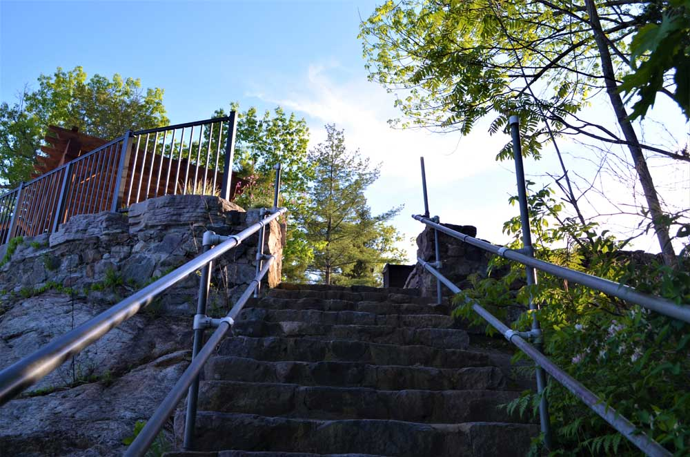 looking up at stone staircase