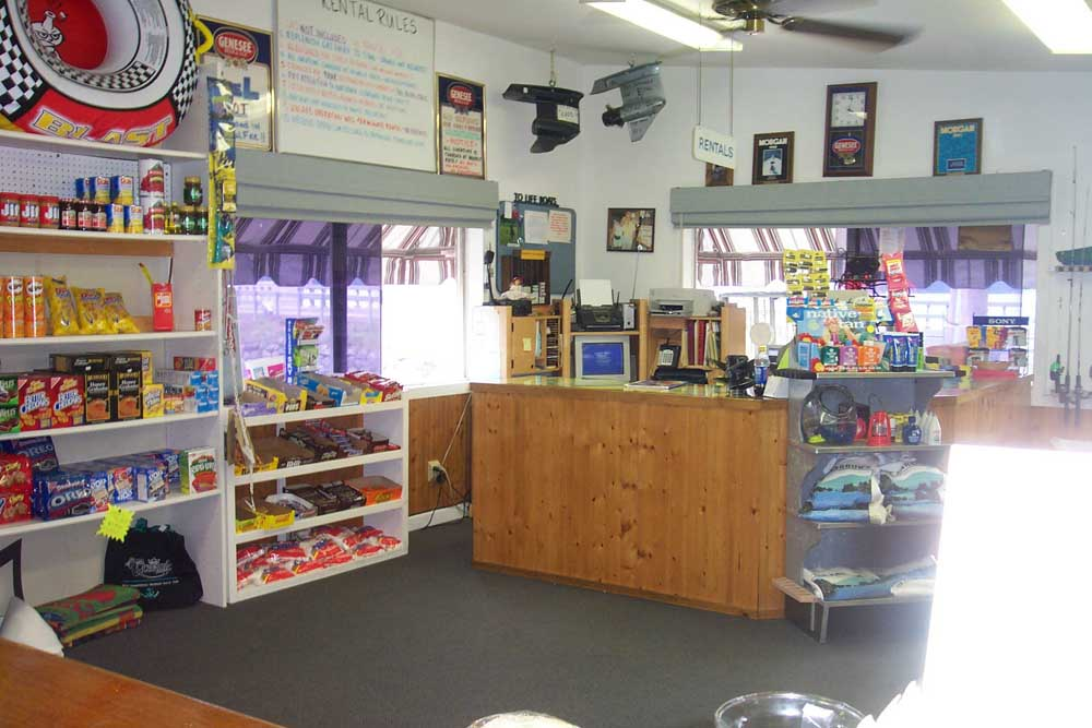 snack section and counter at waters edge lakeside deli