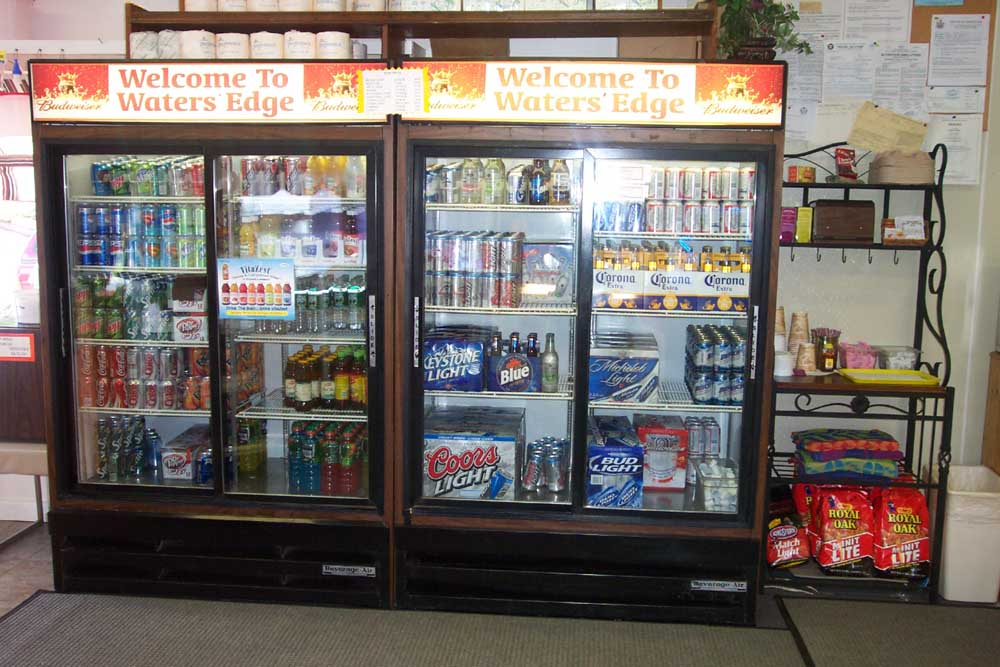 beverages in large fridge