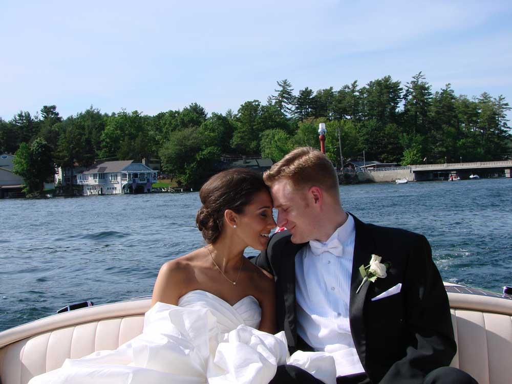 Bride and Groom on Boat on Lake George