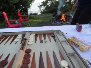 backgammon by campfire