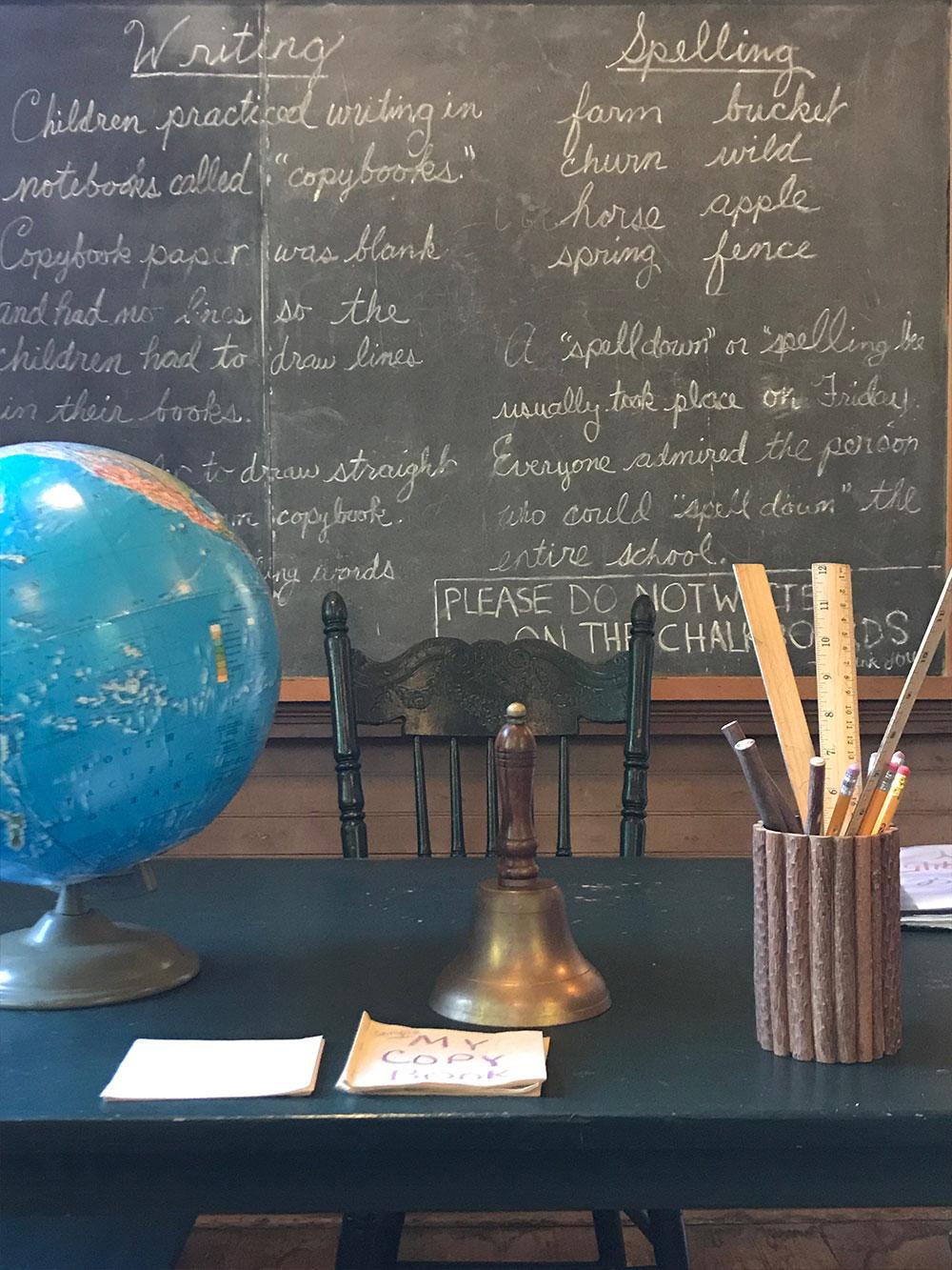 teachers desk in front of blackboard
